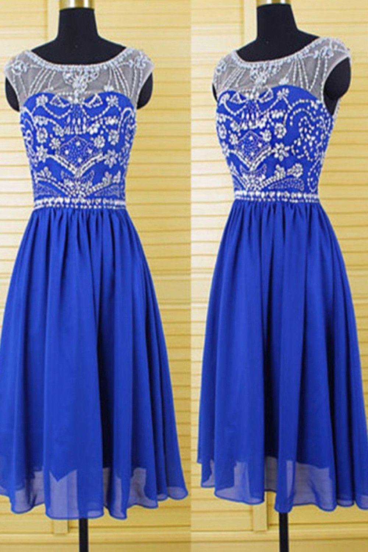 Cap sleeves royal blue chiffon homecoming dresses prom prom