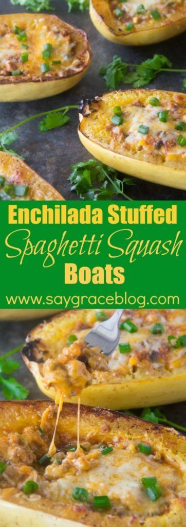 Enchilada Stuffed Spaghetti Squash Boats | Say Grace
