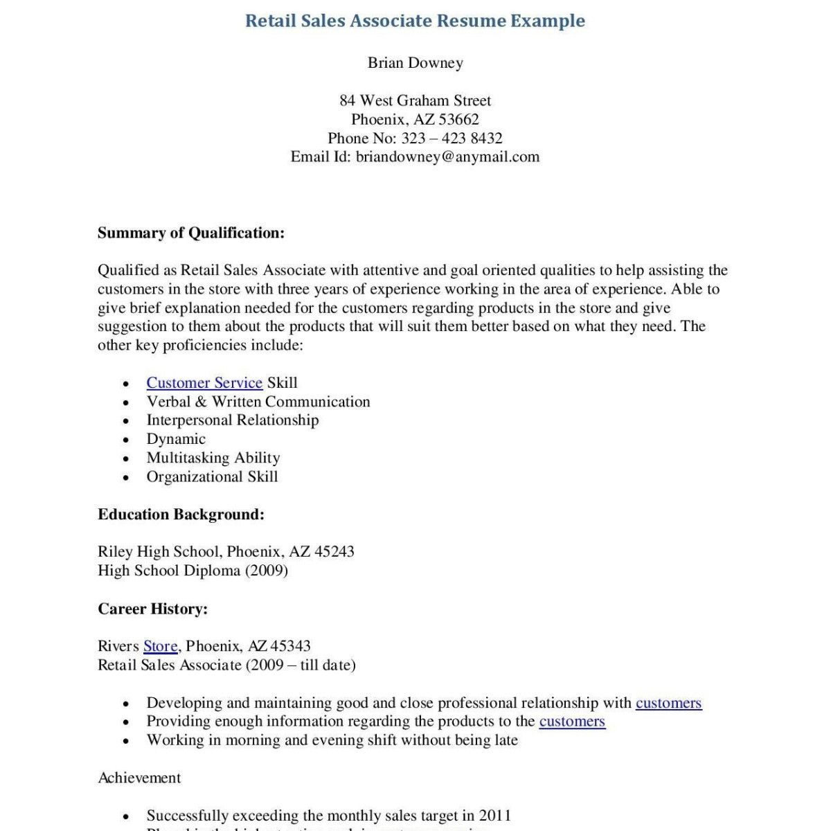 77 Unique Photography Of Examples Of Resumes For Retail Sales Associate Resume Examples Resume Sample Resume Format