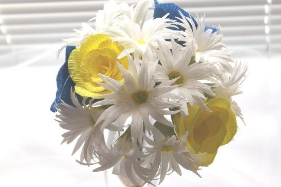 Daysies Yellow and Royal Blue Roses Bouquet by InspirellaDesign
