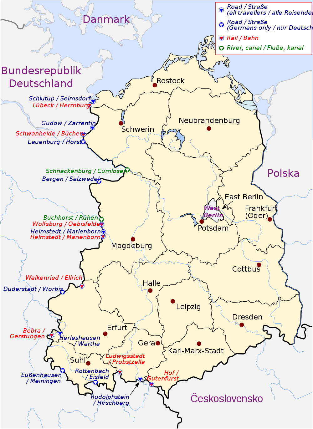 East German border crossing points as of 1982, from Wikipedia #map #coldwar #germany
