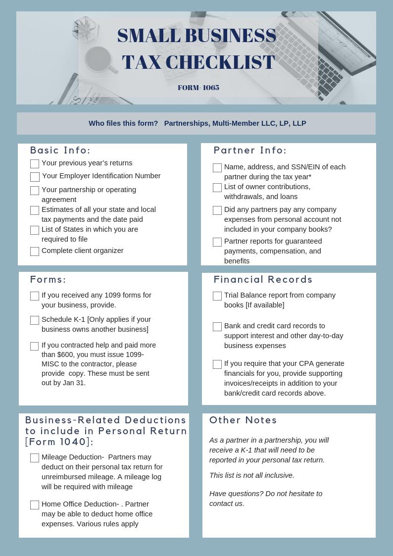 form 1065 questions  Get Ready for Tax Season! Form 9 Checklist ...