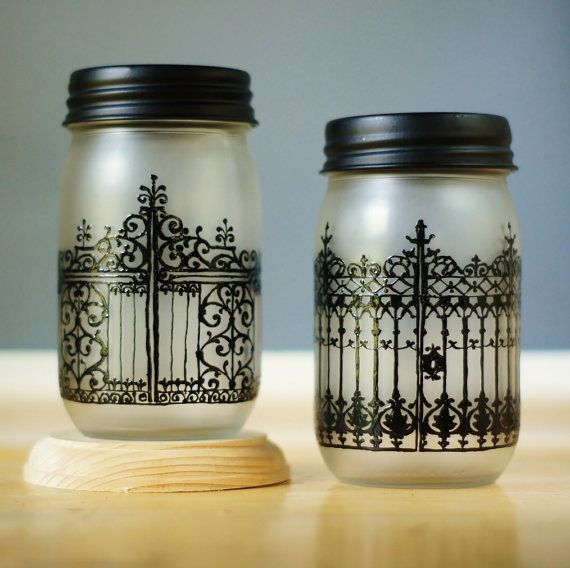 Home Decor Unique Jewelry Hand Crafted Gifts Candles In: Set Of Two Spooky Mason Jars Halloween Decor Candle Par