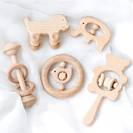 custom baby rattle toy with wooden ring Baby Silicone Wood Rattles Toys