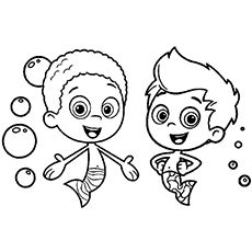 gil and goby from bubble guppies coloring page - Bubble Guppies Coloring Pages Goby