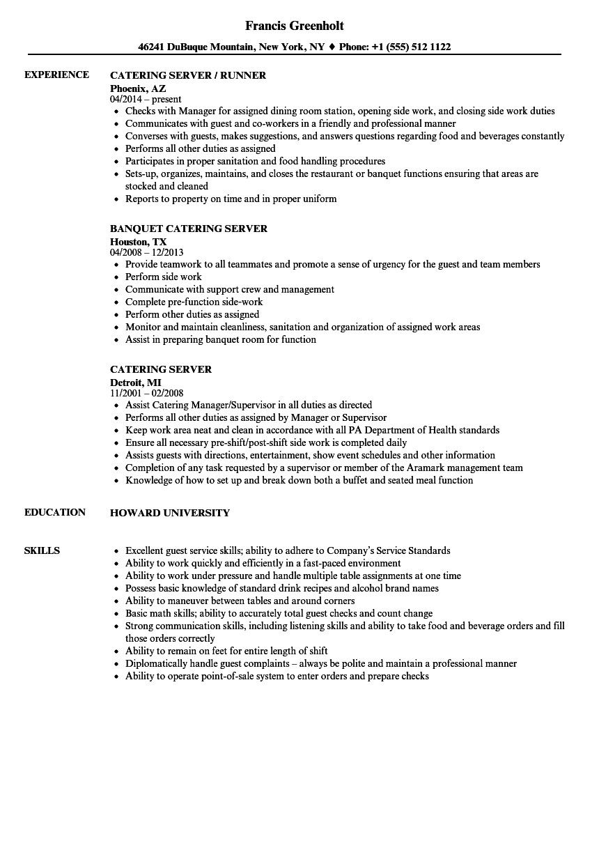Catering Server Resume Sample Resume Examples Job Resume Examples Server Resume