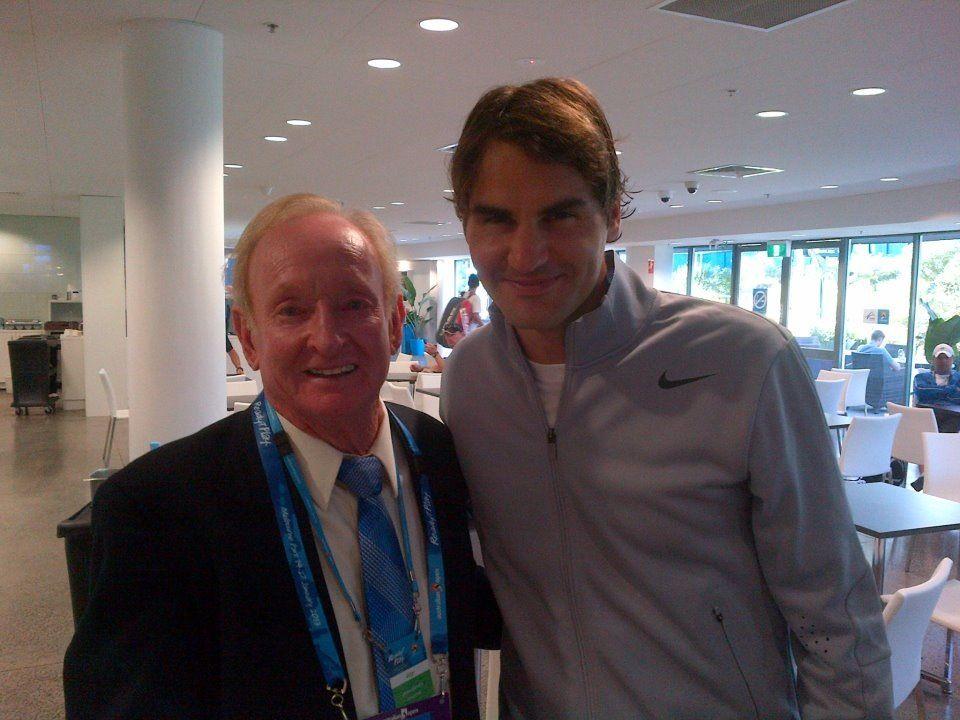 The former great Australian tennis player Rod Laver & Roger Federer @ 2013 Australian Open