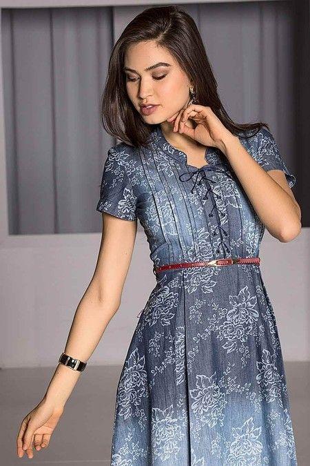 36fc144cda Vestido Jeans Floral Rodado - Raje Jeans - Moda Evangélica e Roupa  Evangélica  Bela Loba