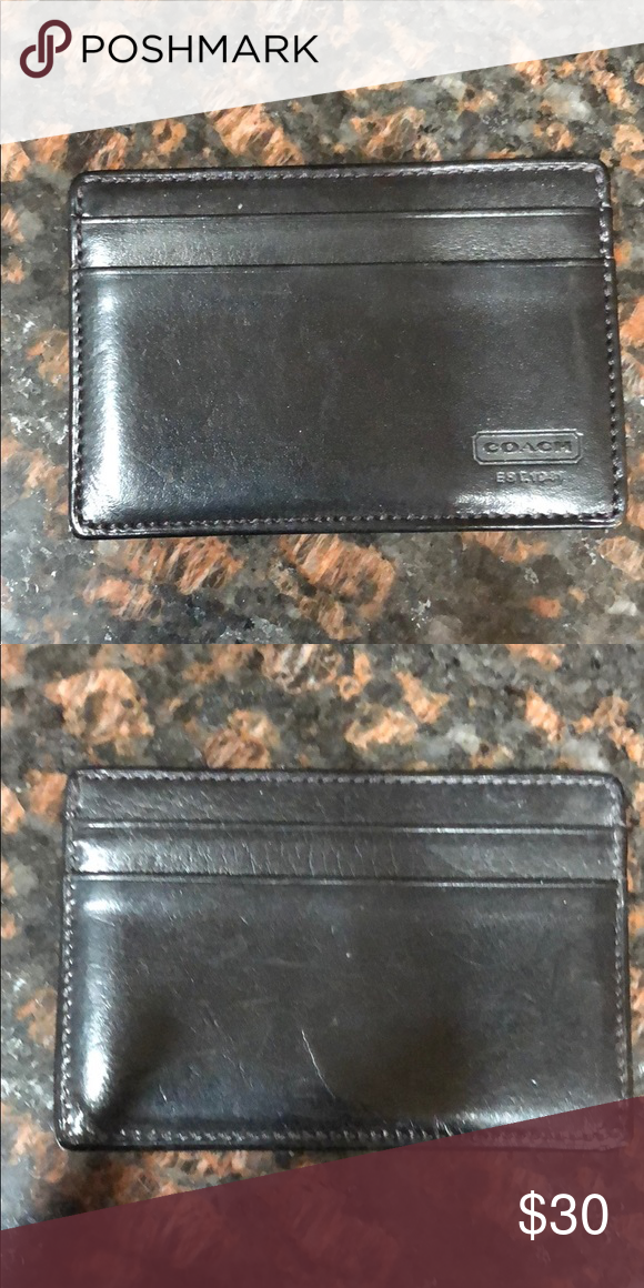 6c70b01d54 Coach card case Black leather coach card case Coach Accessories Key ...