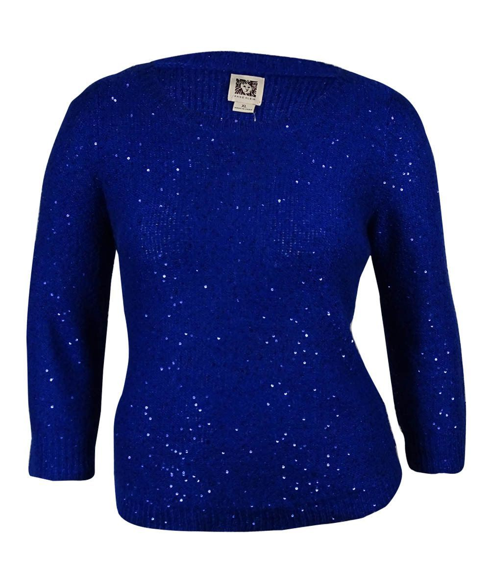 Anne Klein Women's Long Sleeves Sequined Sweater