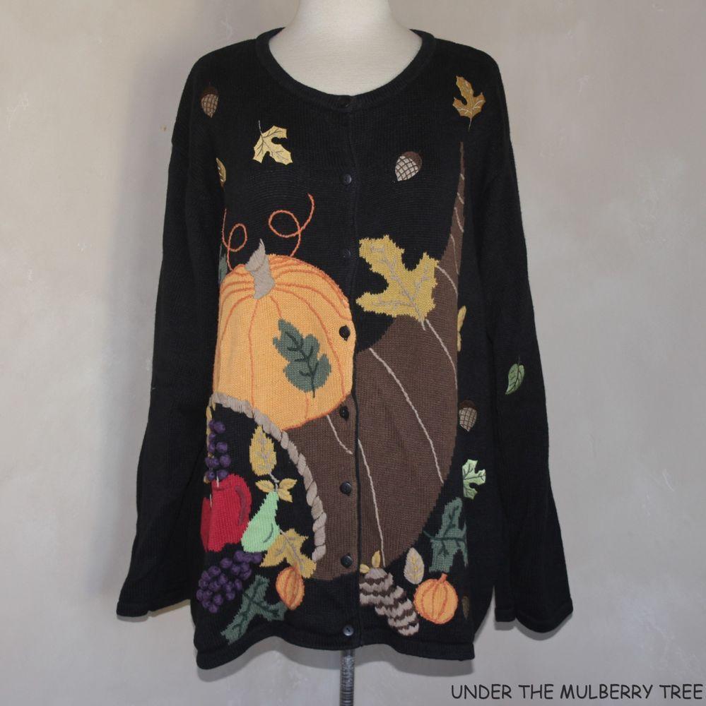 QUACKER FACTORY Sweater Cardigan 3X Black Pumpkin Cornucopia Fall Art To Wear…
