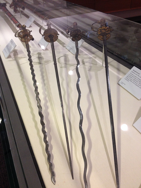 Wavy-bladed rapiers were a Renaissance staple. Flammard fanciers mistakenly believed that this undulating design could inflict deadlier wounds. The shape did provide one genuine dueling advantage, though: When an opponent's sword ran across one, those curves would slow it down.