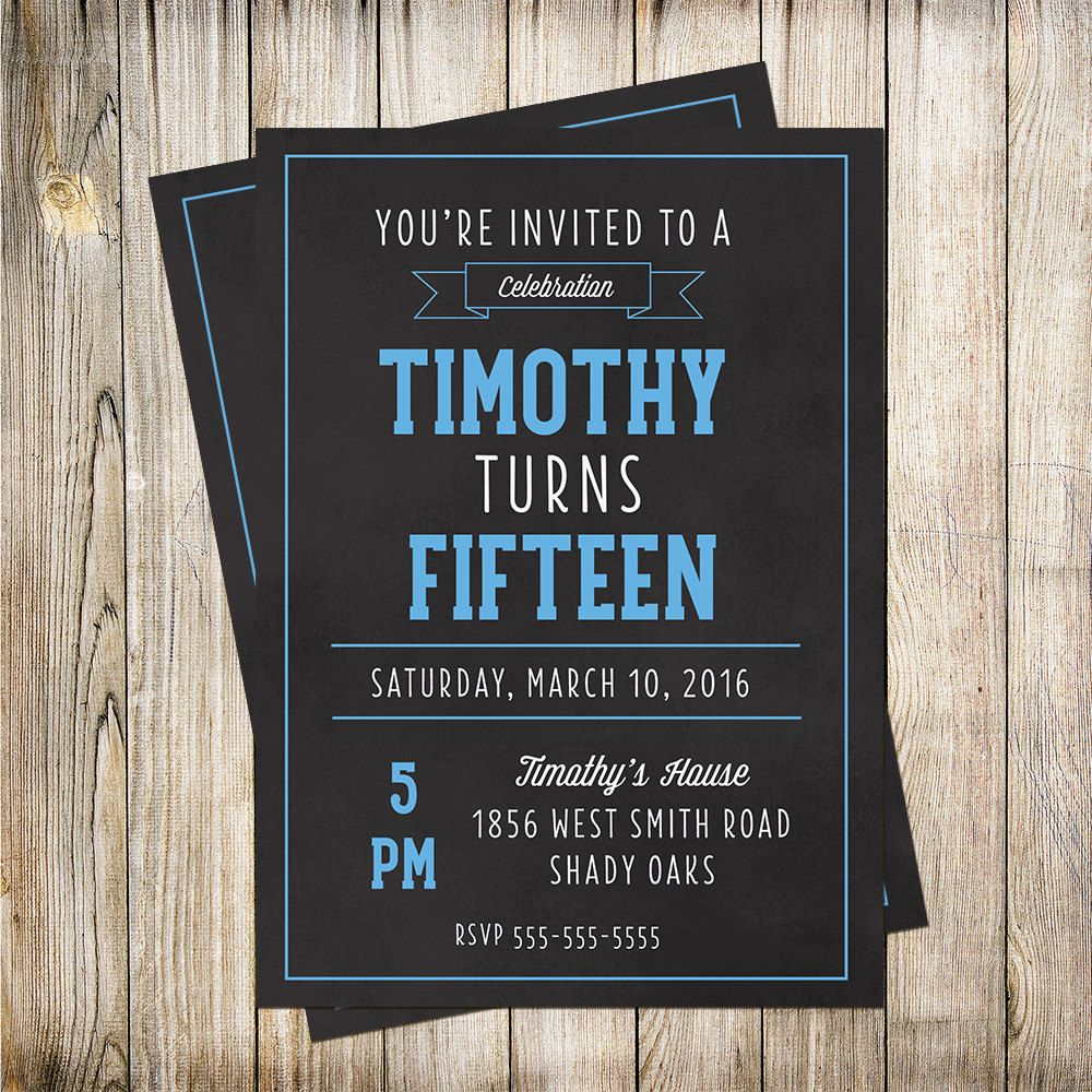 Teen Boys Birthday Invitation Kid Printable Invites By PaperLimeDesigns On Etsy