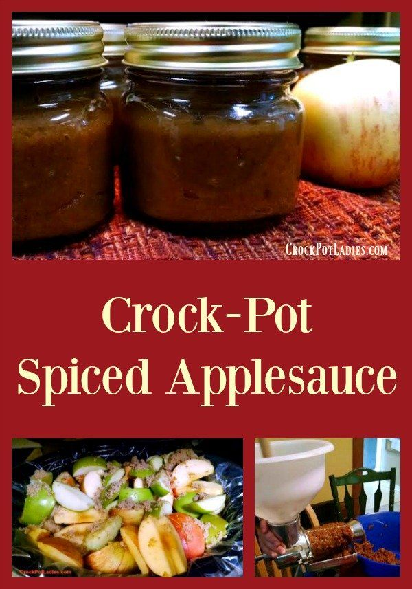Crock-Pot Spiced Applesauce (Canning Recipe) - Preserve fresh autumn apples with this delicious recipe for Crock-Pot Spiced Applesauce which you can process in jars for eating all year long. We walk you through the best apples to use and spices to add for the best spiced apple sauce you have ever made! | CrockPotLadies.com