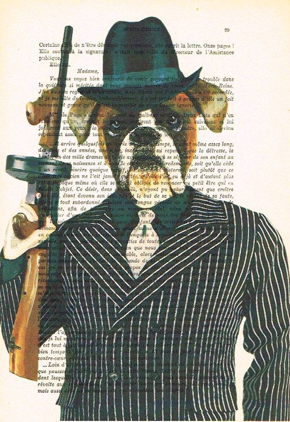 Gangster Boxer: Animal portrait Decorative Art, Buldog Wall Hanging,al capone Boxer print, vintage art Decor, Dog Drawing Poster Pop Art x