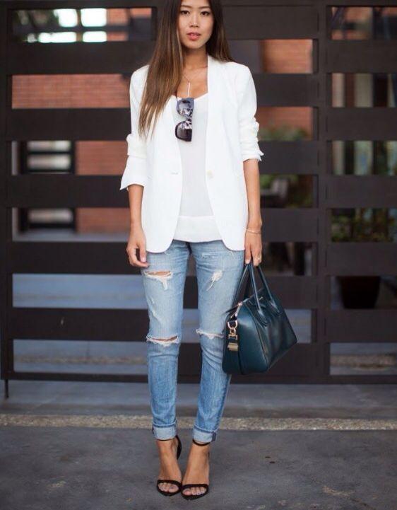 boyfriend jeans wei er blazer outfits pinterest. Black Bedroom Furniture Sets. Home Design Ideas