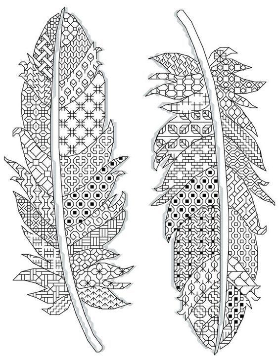 motifs de plumes Blackwork 17 x 23 cm (14 count) 2