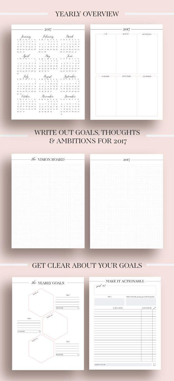2017 planner printable 2017 monthly planner 2017 by ellagantink