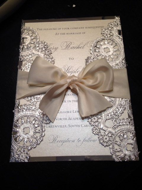 Deposit Metallic Doilies Wedding Invitation Suite With Ribbon Bow