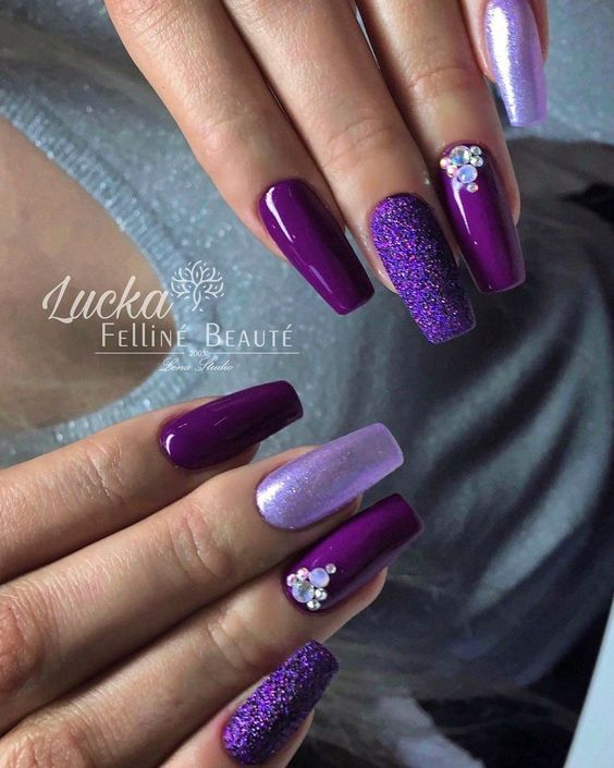 30 Gorgeous Matte Purple Nails Design You May Try In Prom Matte Purple Nails Purple Nail Designs Purple Acrylic Nails