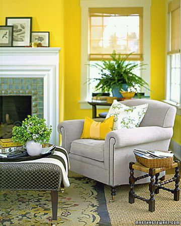 Color Plus Yellow Dandelion Yellow Walls And Clean White Woodwork Pull This Room S Architecture Toget Yellow Living Room Yellow Room Yellow Living Room Colors