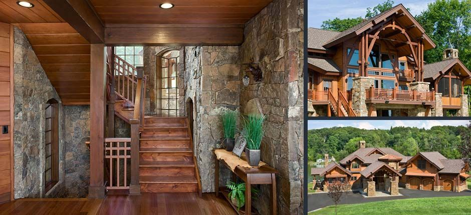 New Jersey Log And Timber Home Amazing Stone Walls Around