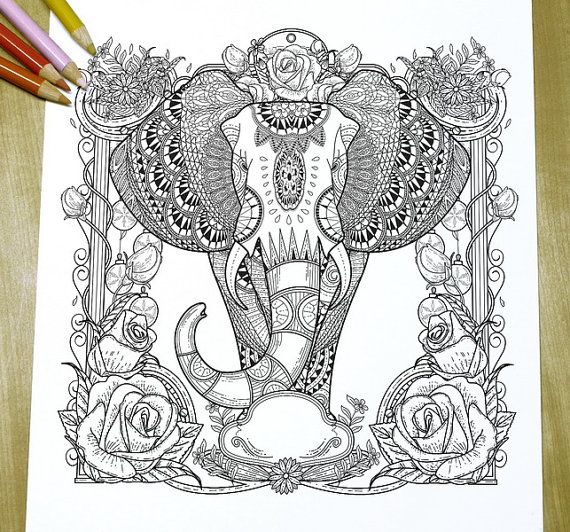 Graceful Elephant Adult Coloring Page Print By DreamStateStudio