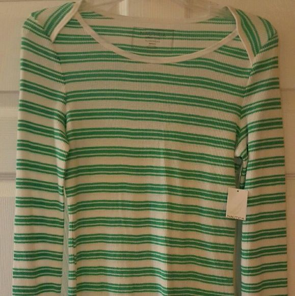 Nautica waffle knit sleep shirt Long sleeve waffle knit top that is new with tags. It's warm knit keeps you cozy at night without overheating you. Nautica Intimates & Sleepwear Pajamas