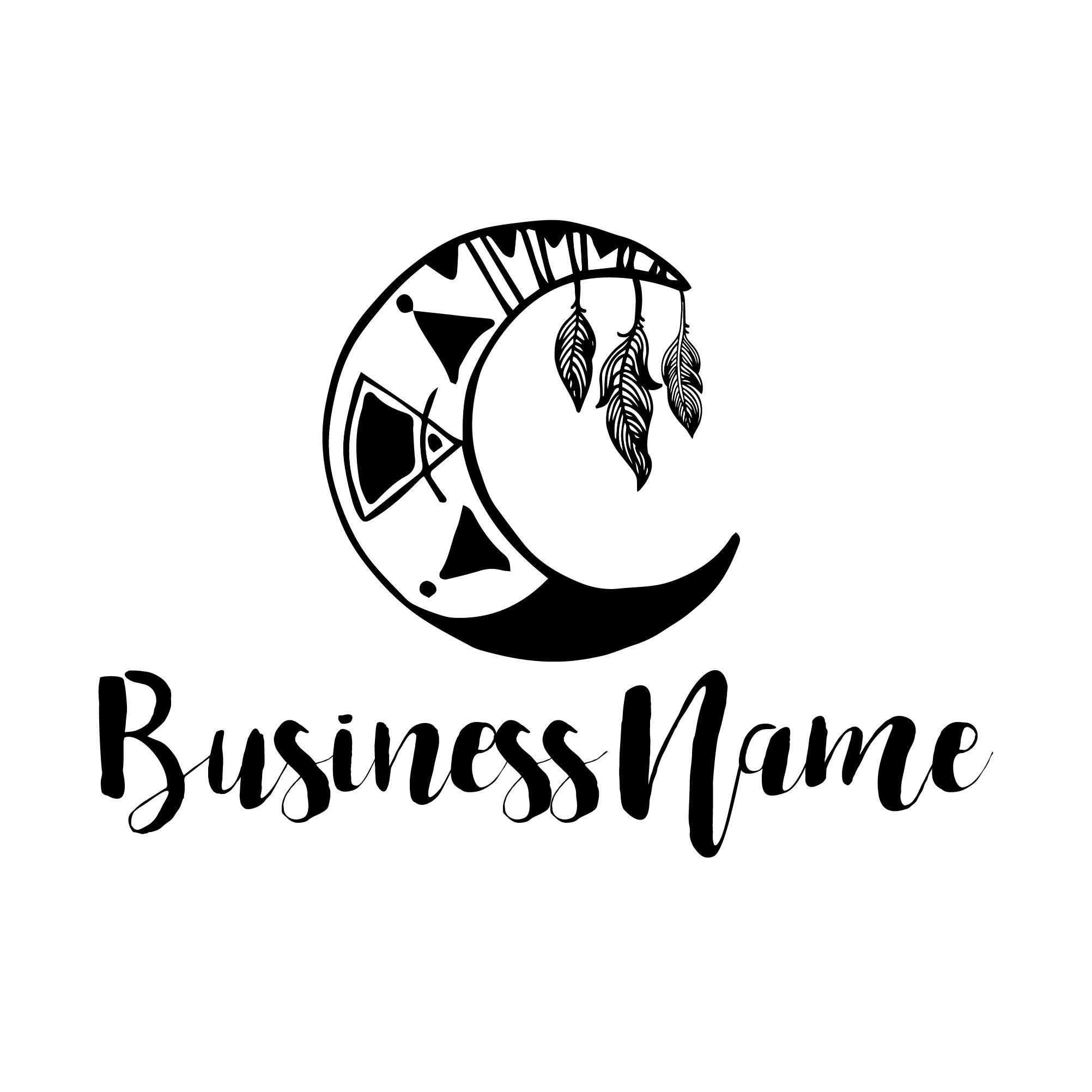photography logo, custom logo design, black logo, round circle moon