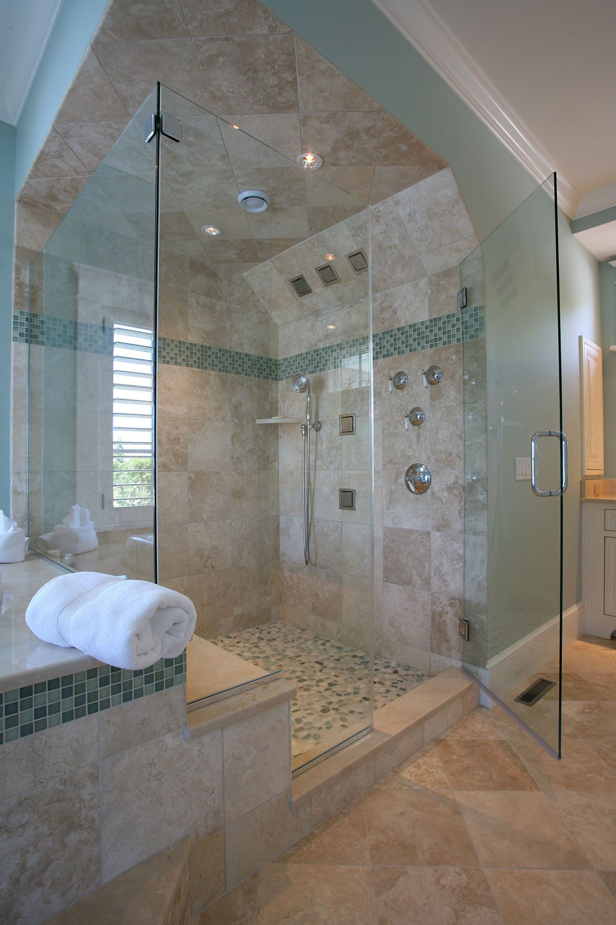 Custom Built Cape Cod Shower With Surrounding Mosaic Style Tile