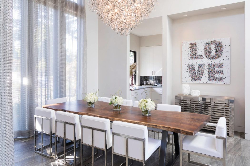 Fairway View Residence By Leslie Minervini Walnut Slab Dining