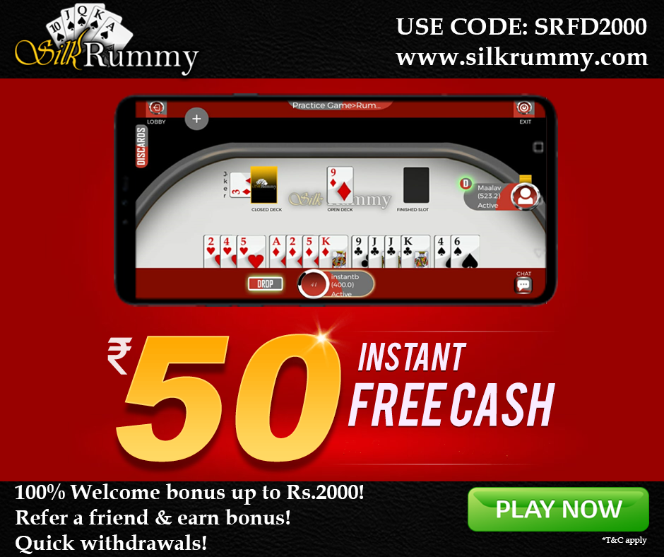 Silkrummy Offers Rs.50 Instant Free Cash as Signup Bonus