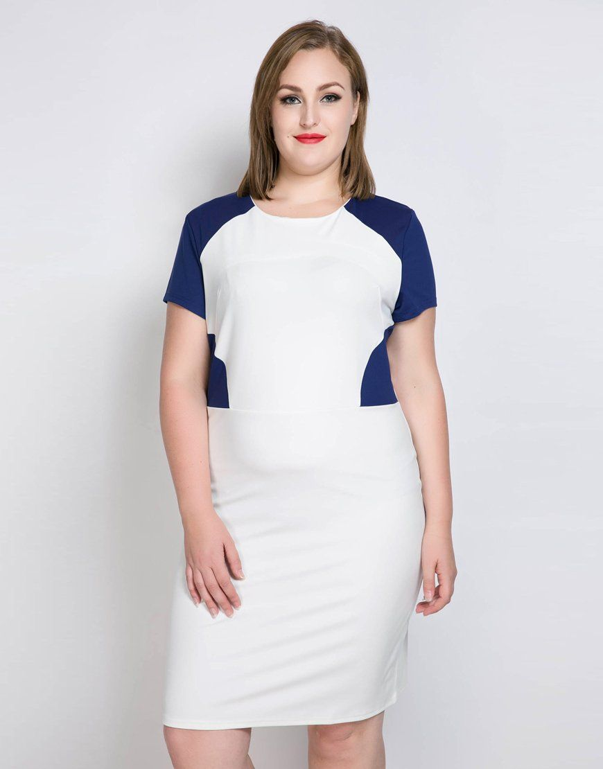 d5b62bb1660 Cute Ann Women s Plus Size Cocktail Party Dress Color Blocked Short Sleeve  Semi Formal Summer Spring