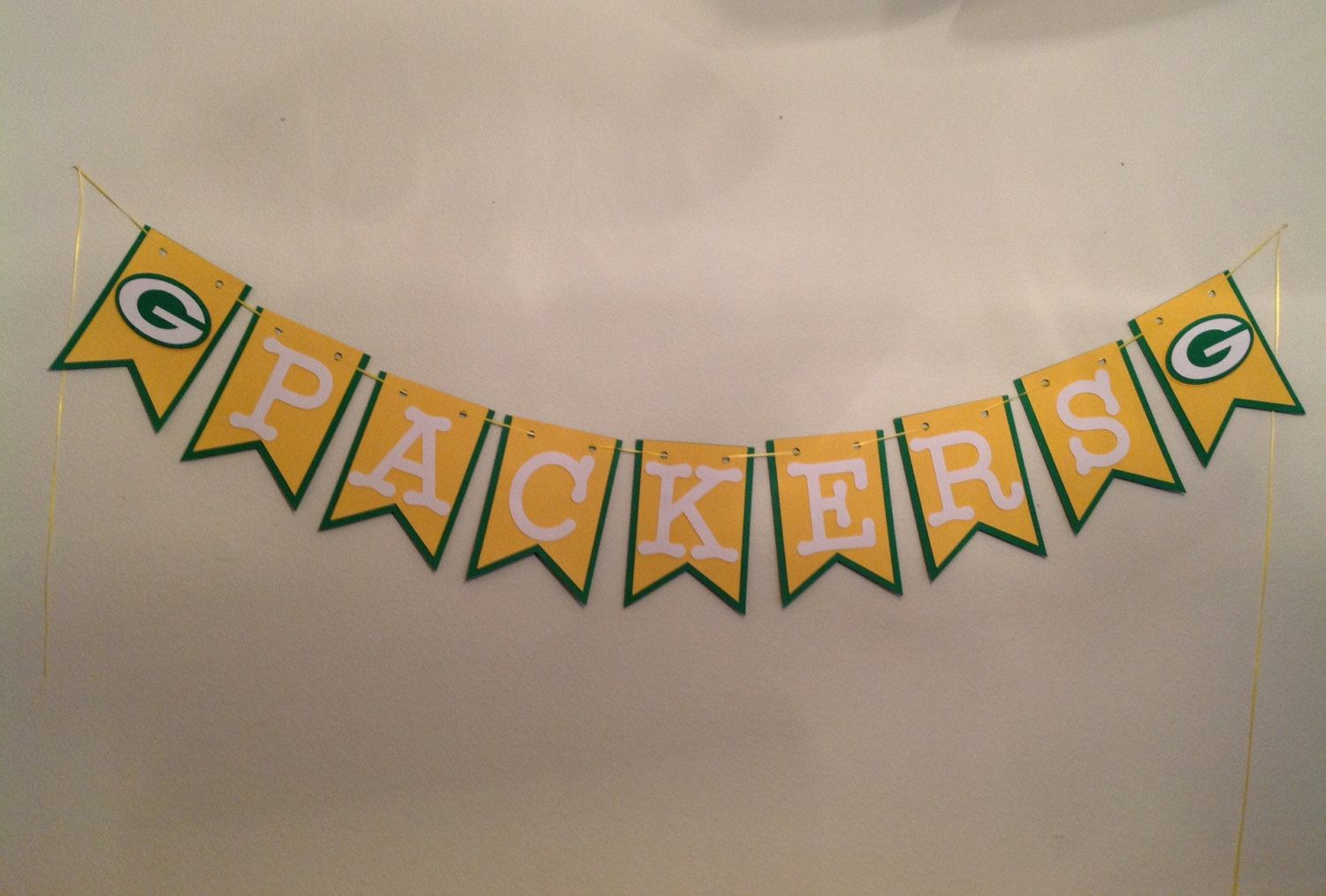 Nfl Green Bay Packers Banner Cardstock Paper Birthday Wedding Shower Inspired Green Yellow W Green Bay Packers Decor Baby Shower Party Decorations Party Banner