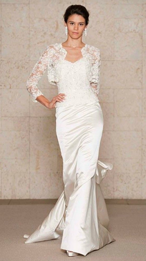 Simple elegant lace wedding dress for older brides over 40 for Older brides wedding dresses