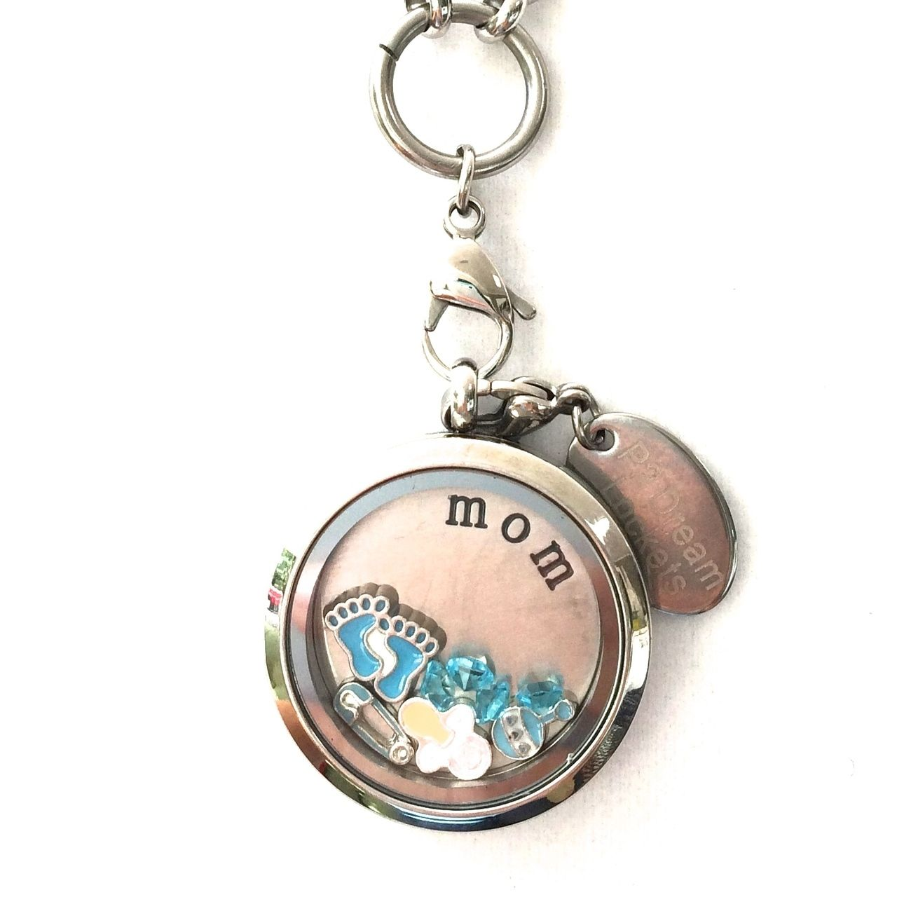 infant locket of floating store loss jewelry stamped mom lockets glass memory baby necklace hand