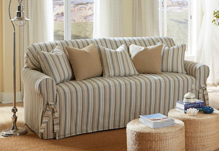 sure fit harbor stripe one piece loveseat slipcover