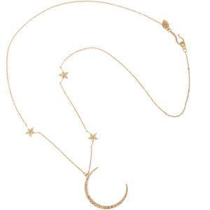 Gold & Diamond Crescent Moon & Triple Star Necklace