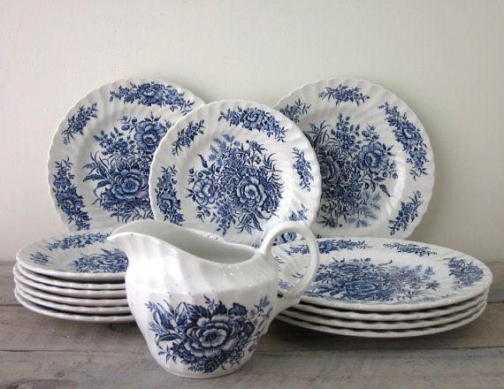 Blue and White Floral Ironstone Dishes Beacon Hill by British Anchor Staffordshire 14 Pieces & Blue and White Floral Ironstone Dishes Beacon Hill by British Anchor ...