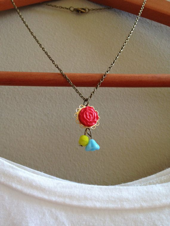 Need to add a simple *POP* of color to your wardrobe? Red Rose & Bright Colored Bead Dangle by adieslovelies, $8.75