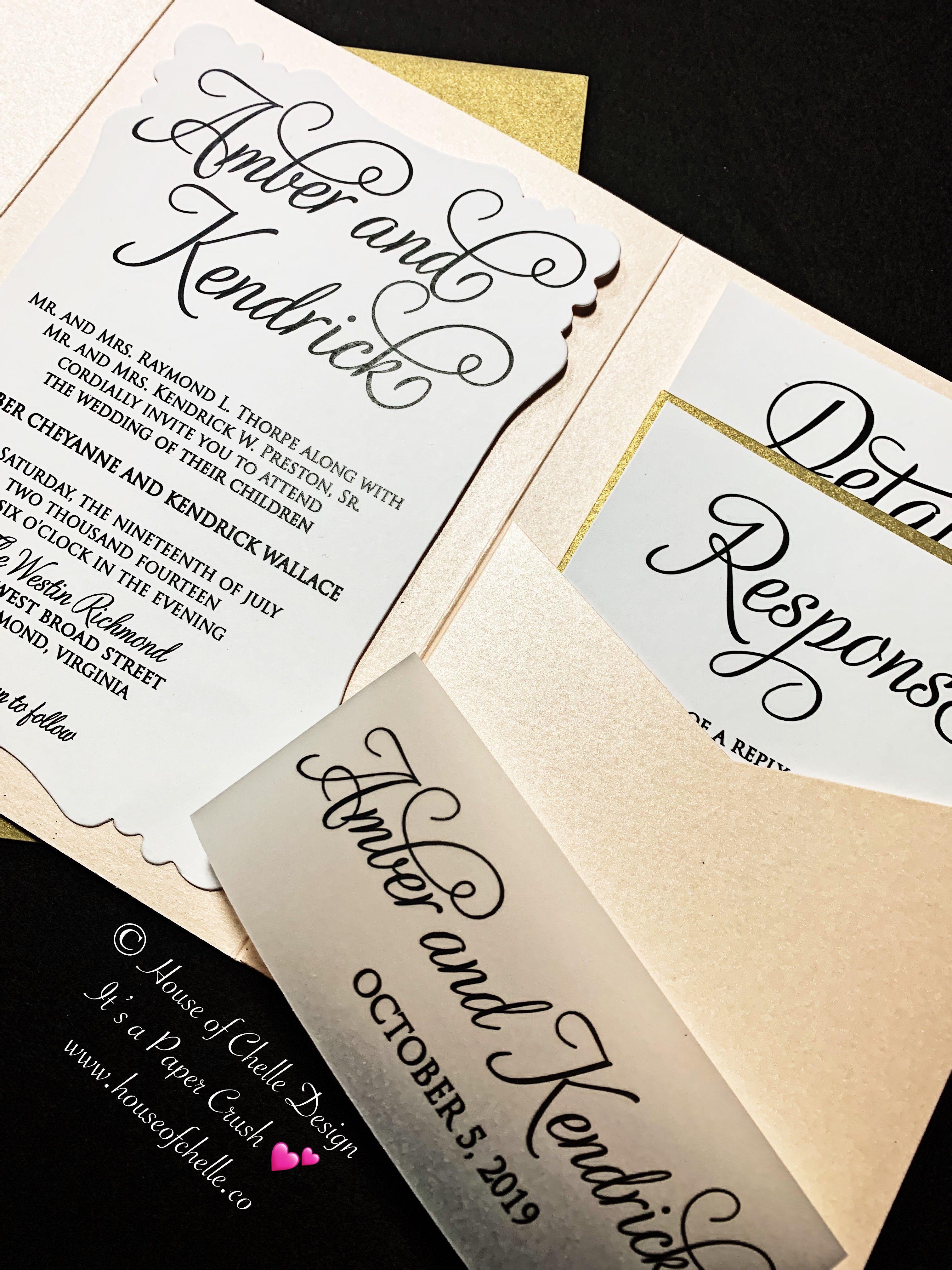 Modern Wedding Invitation, Pocketfold Wedding Invitation