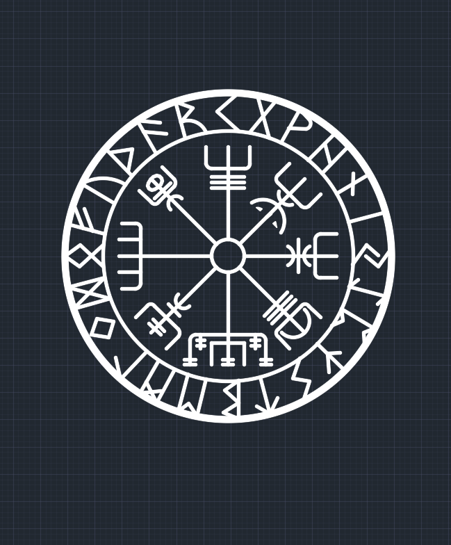 Viking Pagan Asatru Runic Compass Wall Clock Vegvisir Rune Circle Modern Clock