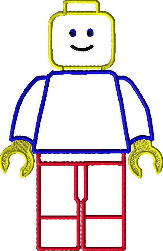 Lego Man Applique Design. Instant Download 4X4 by AppliqueDazzle ...