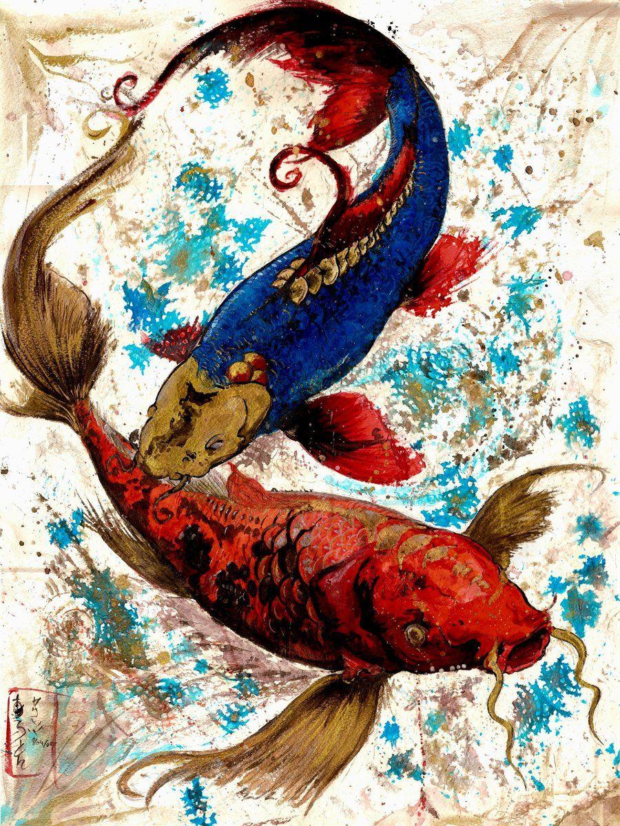 Sumi ink japanese watercolors on paper watercolors for Koi fish artwork