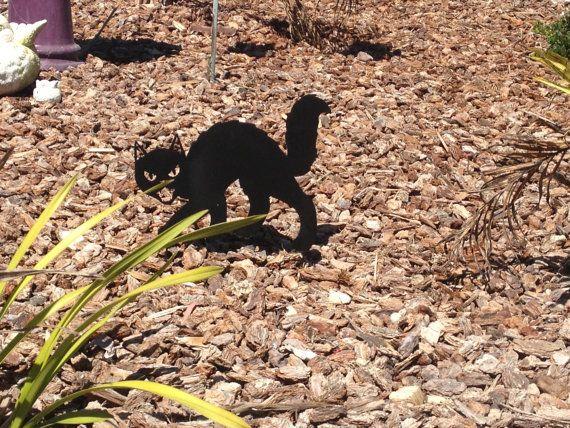 Black Cat, Cat Halloween Decoration, Black Cat Yard Stake Metals