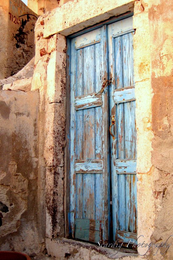 Wooden Door Santorini Greece Weathered Distressed Door
