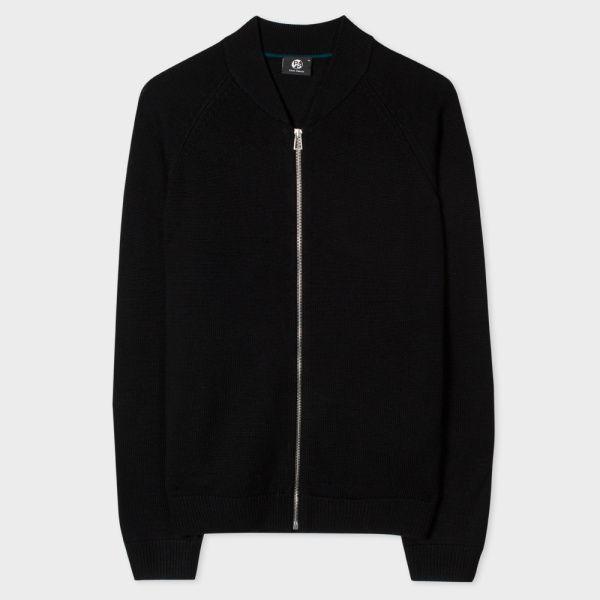 Men's Black Merino Wool Zip-Front Cardigan | Mens Cardigan ...