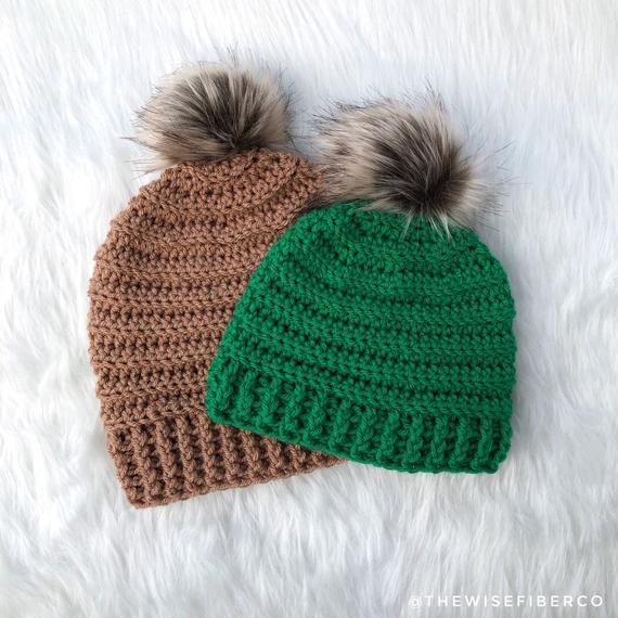 beef9bef886 Custom Crochet Beanie with Faux Fur Pom Pom