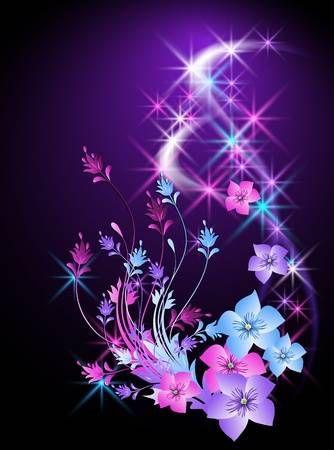 Glowing Hintergrund mit Blumen und Sternen