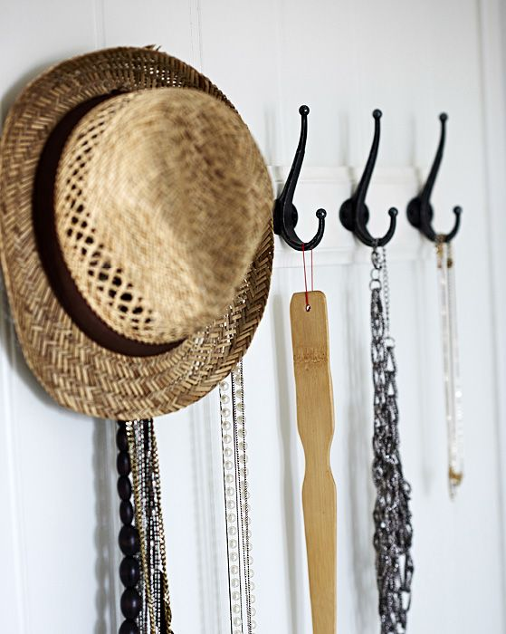 Hang necklaces on coat hooks so they don't get all tangled up | #IKEAIDEAS from Gina's super-organised wardrobe in #IKEAFAMILYMAG
